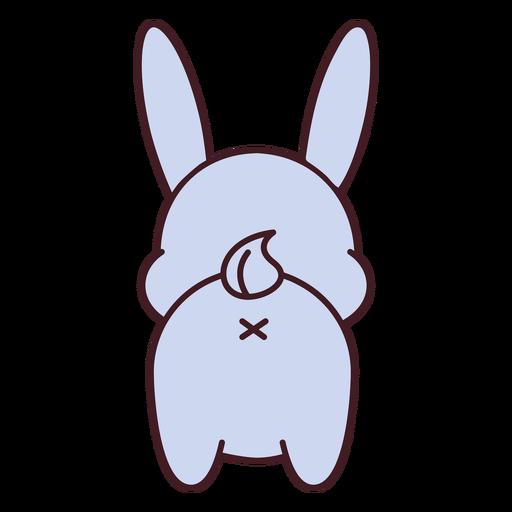 Lindo conejito gris espalda plana