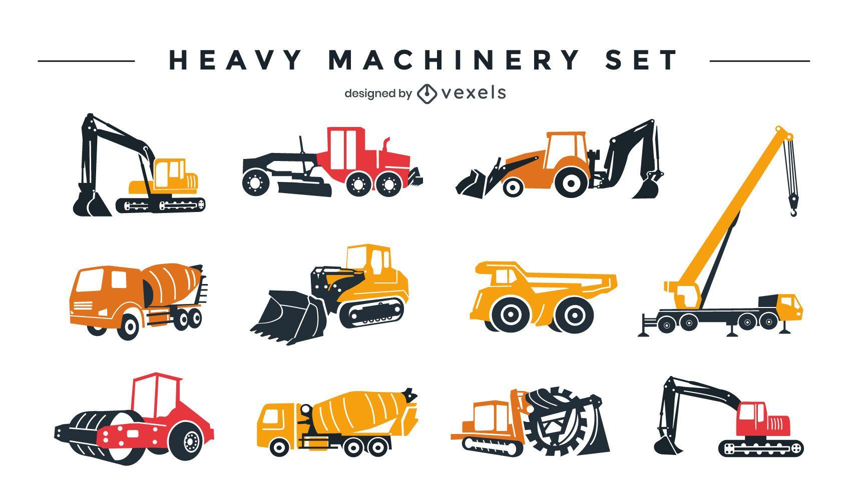 Conjunto de diseño de maquinaria pesada.