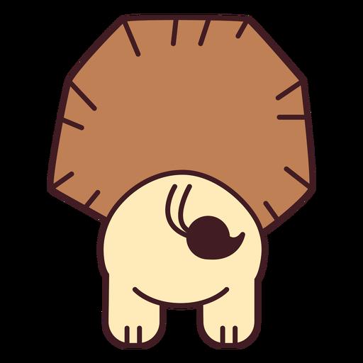 Cute lion back flat