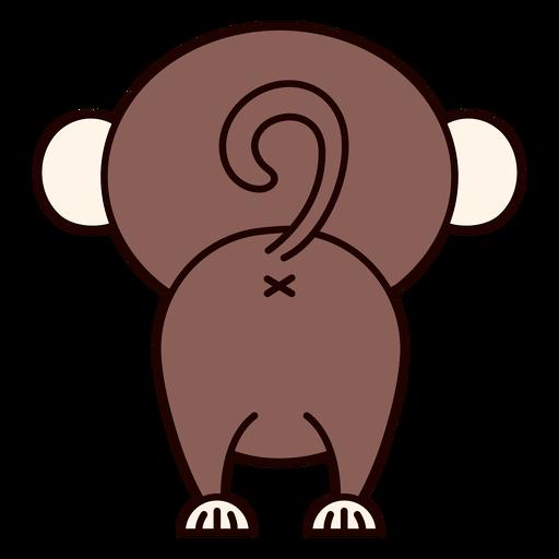Macaco fofo de costas achatadas