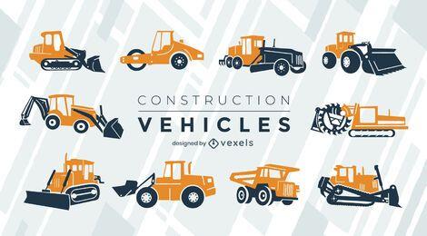 Conjunto plano de veículos de construção