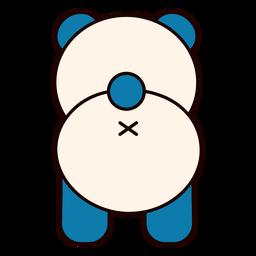 Cute panda bear back flat