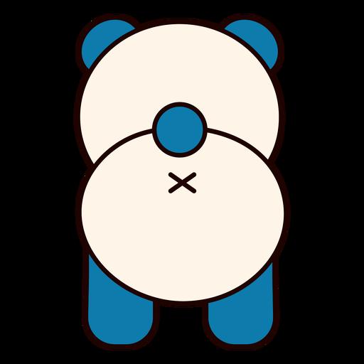 Lindo oso panda espalda plana