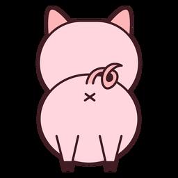 Cute pig back flat