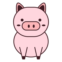Cute pig flat