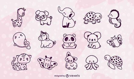Conjunto de braçadas de animais kawaii