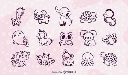 Kawaii animals stroke set