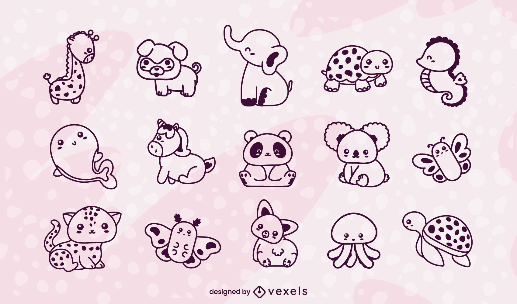 Kawaii animals stroke set