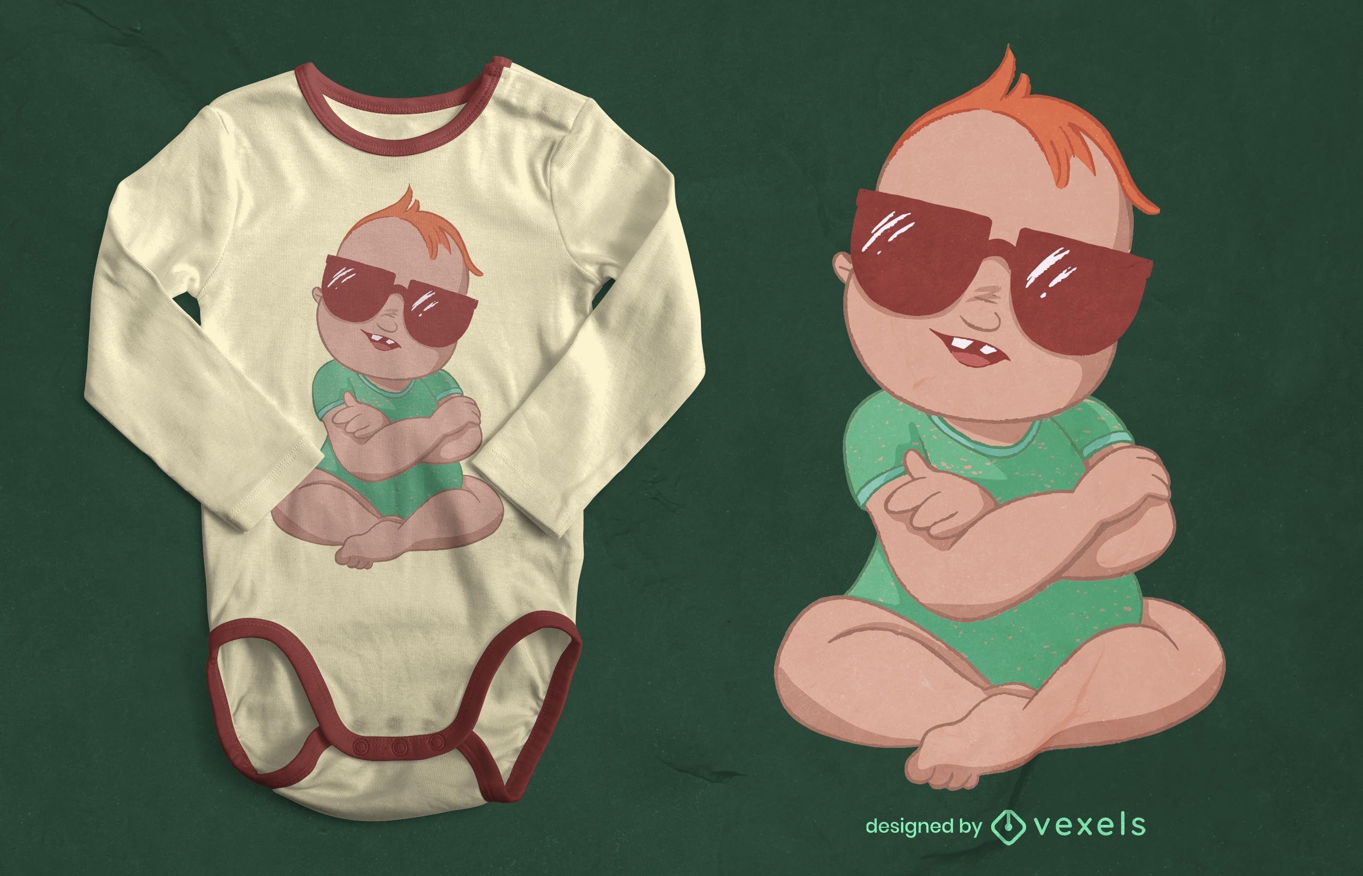 Diseño de camiseta de bebé con gafas de sol.