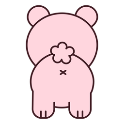 Cute pink bear back flat