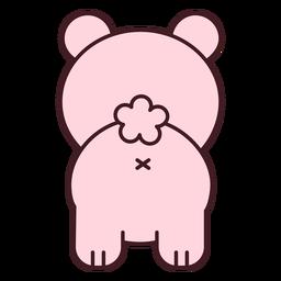Urso rosa fofo de costas achatadas