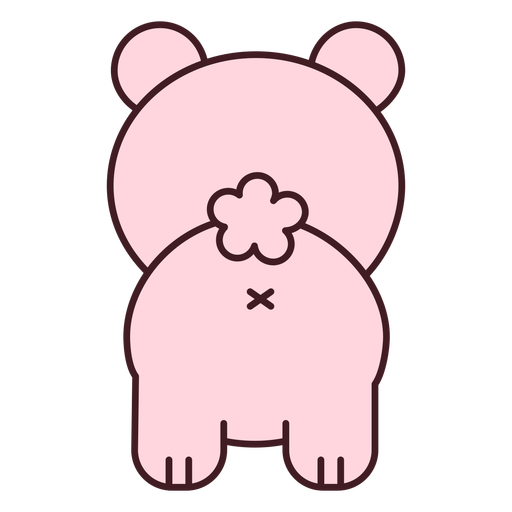 Cute pink bear back flat Transparent PNG