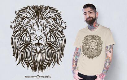 Desenho de camiseta de leão desenhado à mão