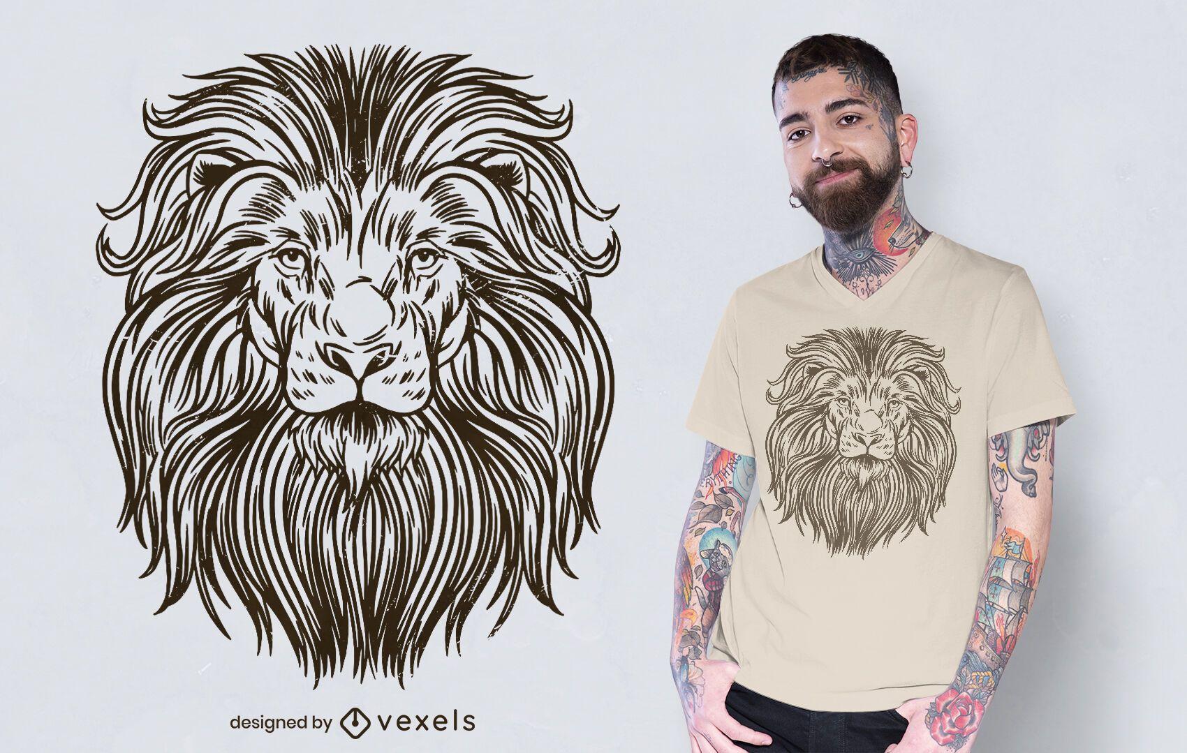 Hand drawn lion t-shirt design