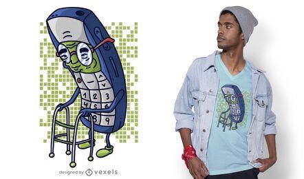 Design de camiseta de celular antigo