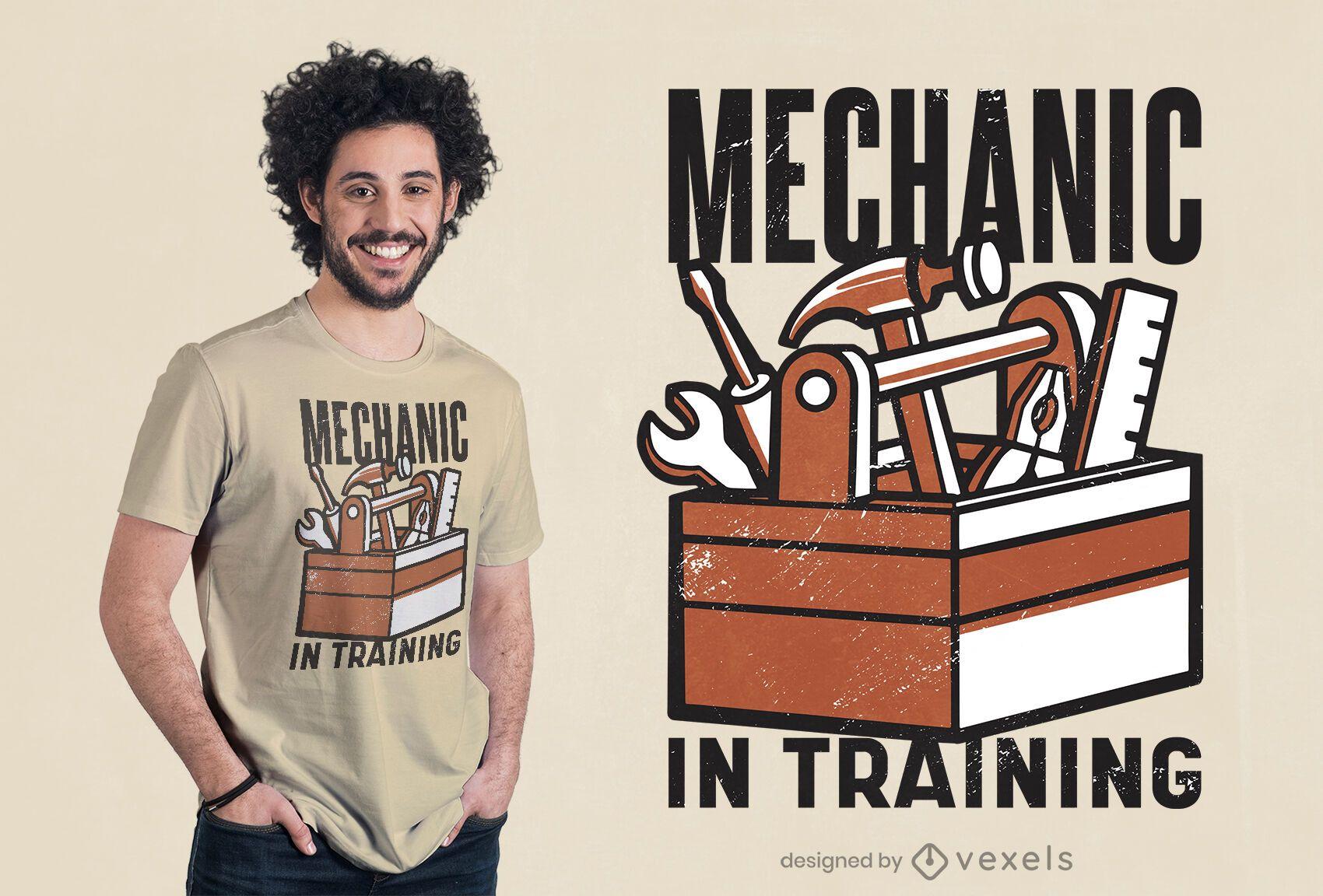 Mecánico en diseño de camiseta de entrenamiento.