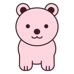 Urso rosa fofo plano