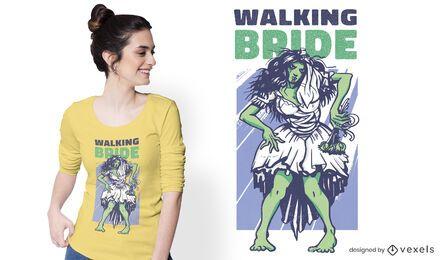 Diseño de camiseta de novia caminando