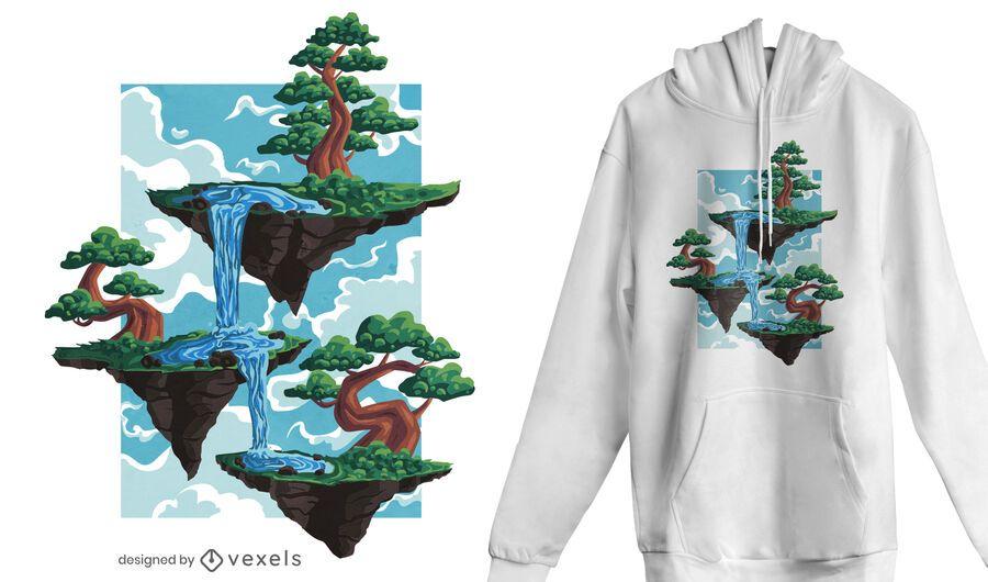Diseño de camiseta de islas flotantes.