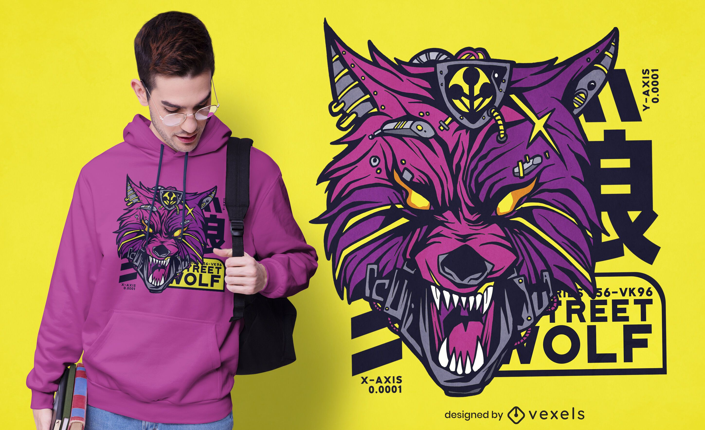 Diseño de camiseta cyberpunk wolf