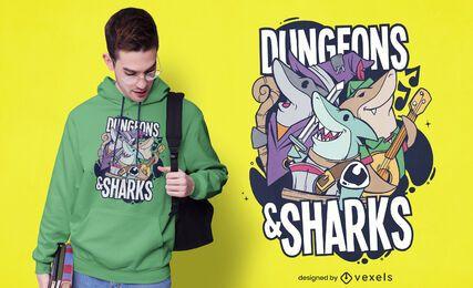 Design de camisetas para masmorras e tubarões