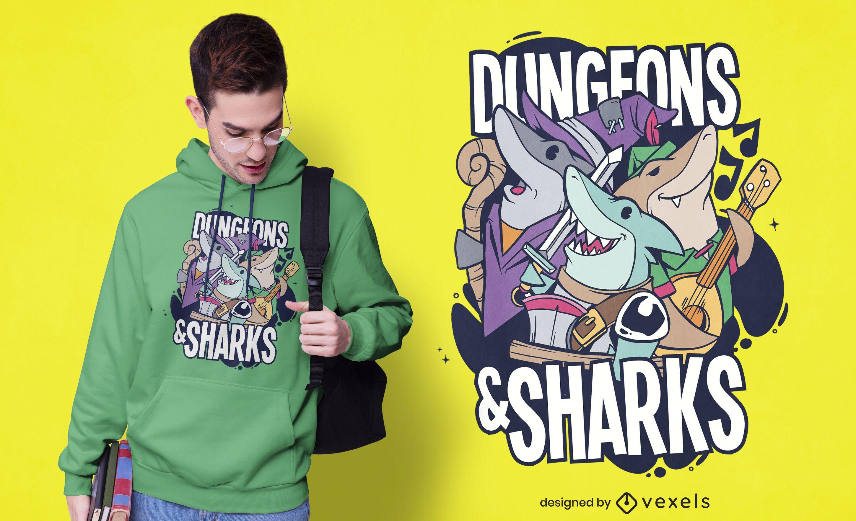 Diseño de camiseta de mazmorras y tiburones