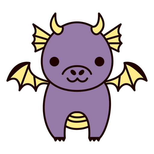 Lindo dragón morado plano