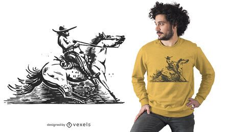 Design de camiseta de cowboy mexicano