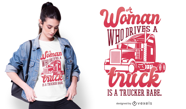Trucker babe t-shirt design