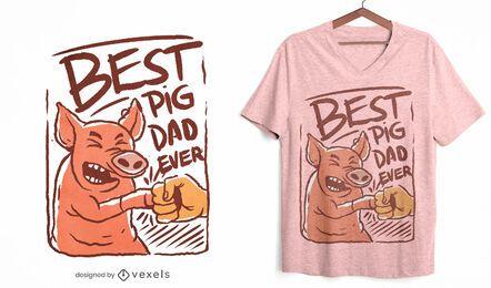 O melhor design de t-shirt do pai porco de todos os tempos