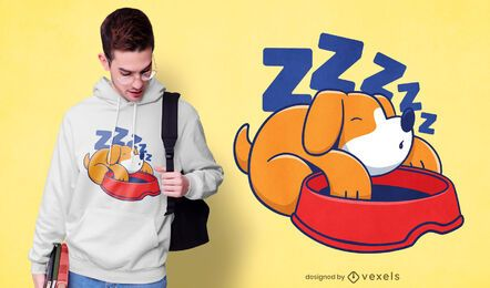 Diseño de camiseta de perro durmiendo