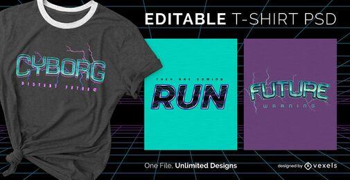 Futuristischer Text skalierbares T-Shirt psd