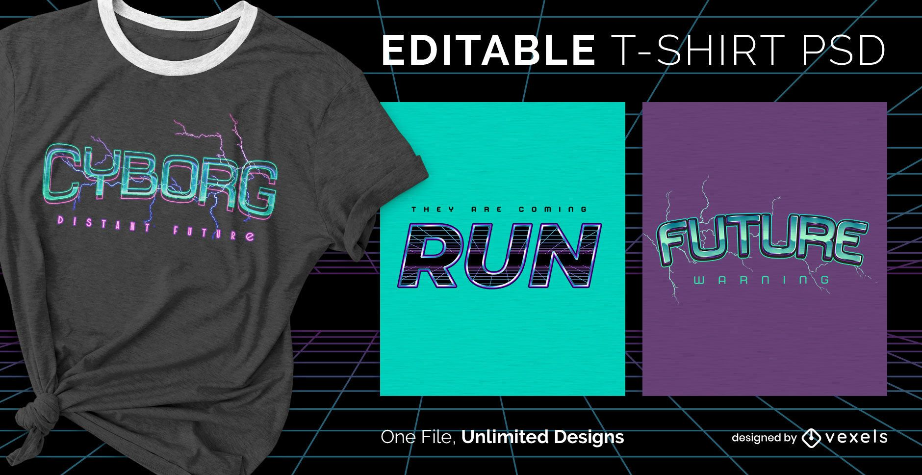 Camiseta escalable texto futurista psd