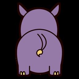 Lindo rinoceronte espalda plana