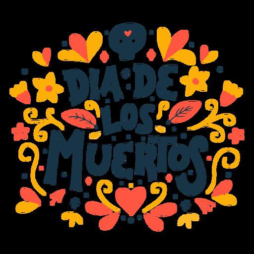 Dia de los muertos skull lettering