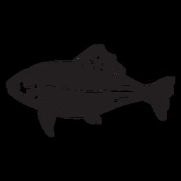 Cráneo de pescado cortado