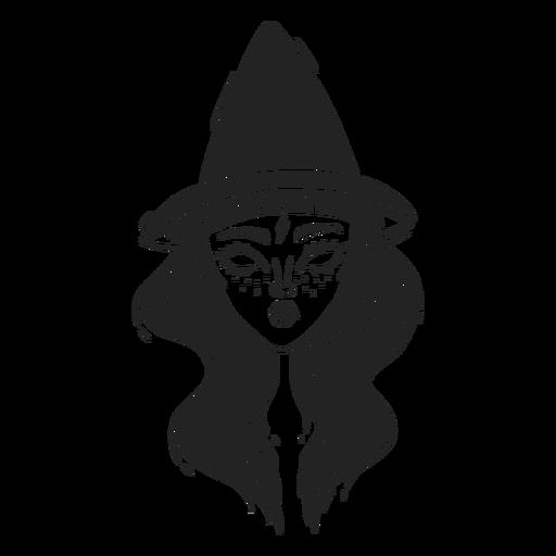 Girl witch hat halloween stroke