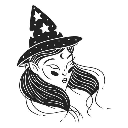 Girl witch hat stroke