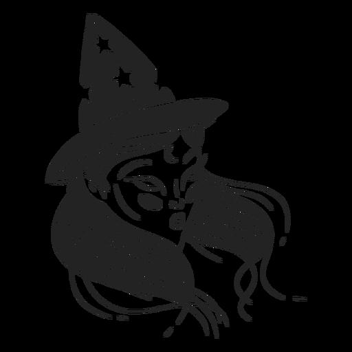 Menina bruxa no chapéu
