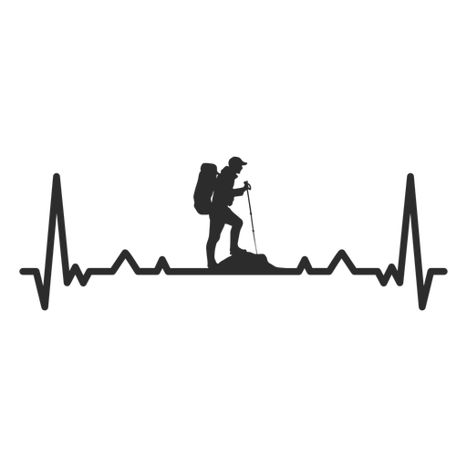 Hearback hiking silhouette