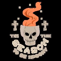 Open skull halloween badge