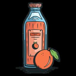 Orange juice bottle hand drawn