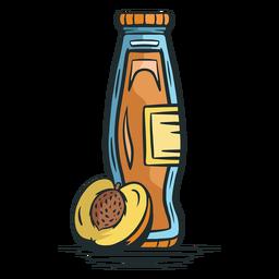 Peach juice bottle hand drawn