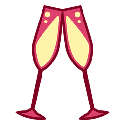 Copas de champagne rosa planas