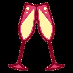 Pink champagne glasses flat