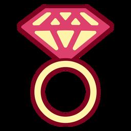 Anillo de diamantes rosa plano
