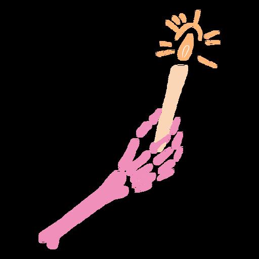 Pink skeleton hand candle flat