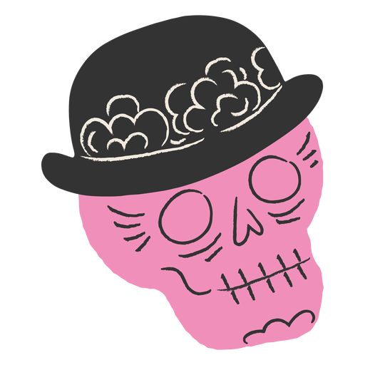 Pink skull with hat