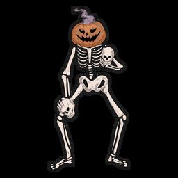 Pumpkin skeleton sticker
