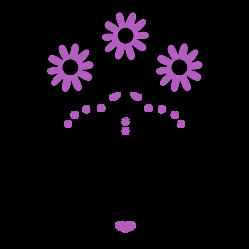 Purple skull flower crown color stroke